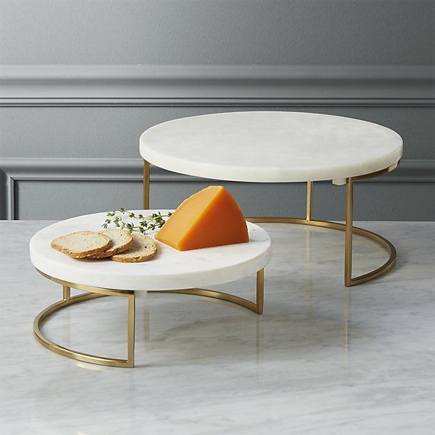 cb2 essex marble cheese tray stand