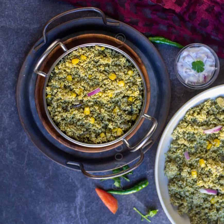 spinach and millet