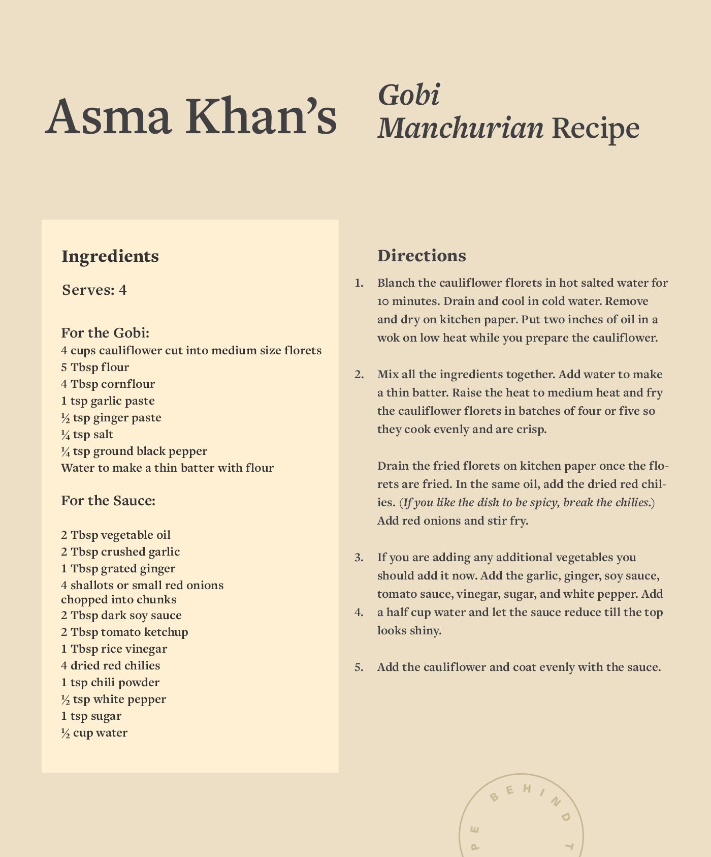 gobi manchurian recipe card