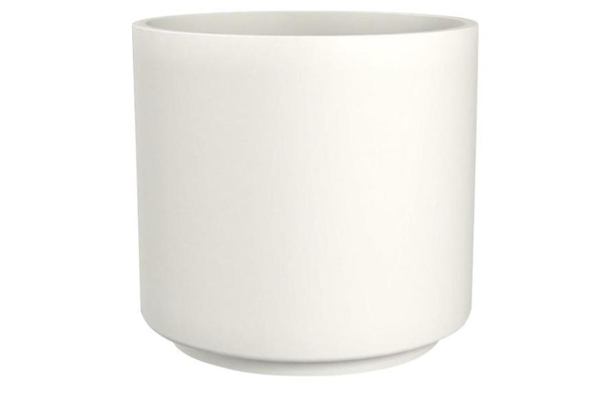 Trendspot 13 in. Matte White Cylinder Ceramic Planter, under $30 planters