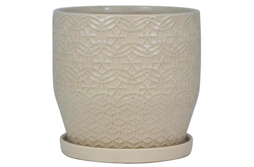 Trendspot 10 Inch Dia Ivory Rivage Ceramic Planter