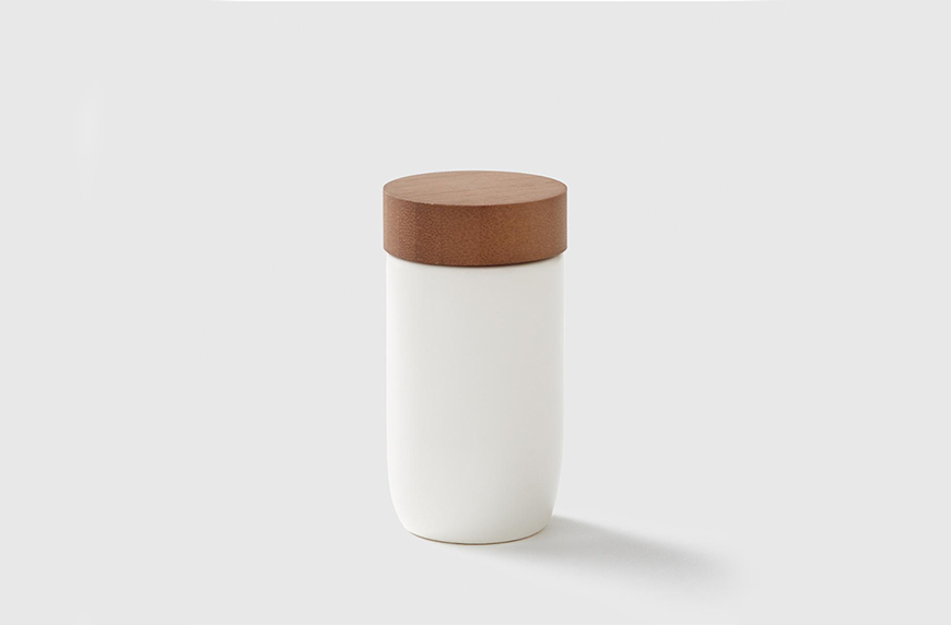 Cloud White Ceramic Spice Jar with Bamboo Lid