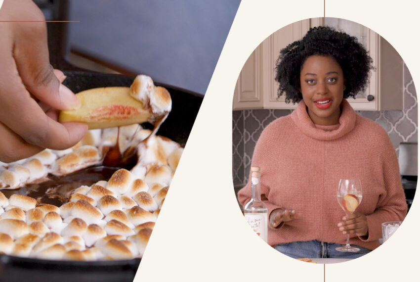 How to Create a Cozy Fireside Moment from the Comfort of Your Couch—And the Dessert-Cocktail Pairing That'll Bring the Outdoors In