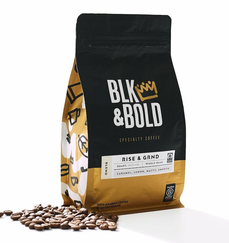 blk & bold rise and grind coffee beans