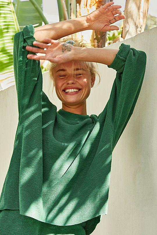 free people green sweater set