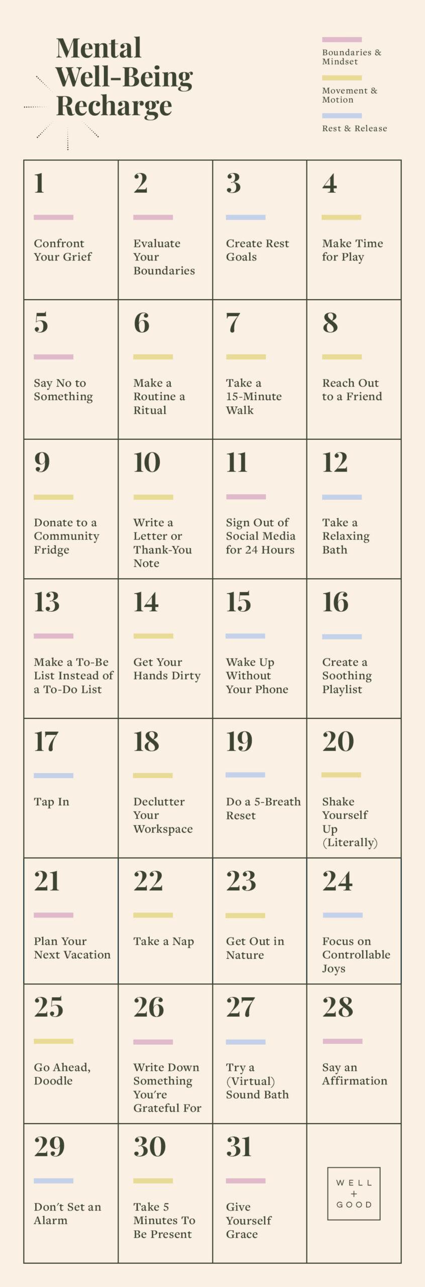 mental well-being recharge calendar