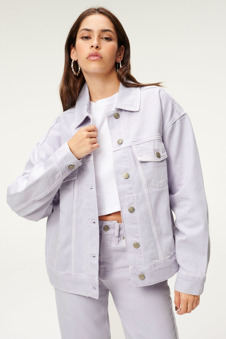 good american lilac denim jacket